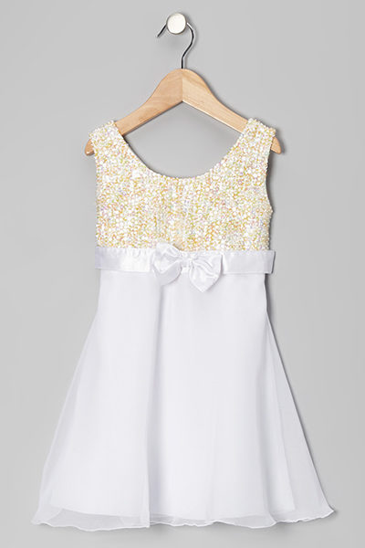 WHITE-GOLD-SLEEVELESS-WITH-BOW-DRESS